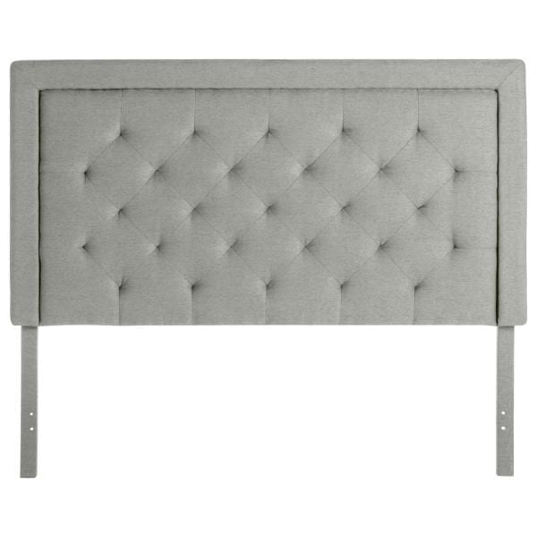 Headboard Square Tufted Lt Grey