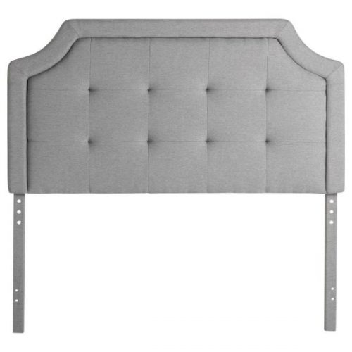 Headboard Scoop Tufted Lt Grey